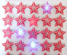 Wholesale Christmas Led Light Brooches - New 50 pcs set Cartoon Multi Star-Shaped Flashing LED Light Up Badge Brooch Pins Party decoration P--22