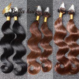 Wholesale Brazilian Body Wave Micro - 3set lot Micro Ring Loop brazilian Body Wave human hair color#1#2#4 Grade 8A 100g set free shipping Bella Hair