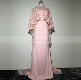 Wholesale Coral Cape Sleeve Dress - Real Pictures Pink Arabic Long Evening Dress with Cape 2017 Elegant High Neck Lace Mermaid Prom Dresses Formal Abendkleid lang