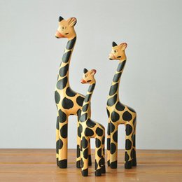 Wholesale Vintage Wooden Ornament - Vintage Nordic Log Craft Gift Giraffe Animal Wooden Ornaments Home Decoration 3 Pcs In One Set Home Furnishing Articles 25tz J R