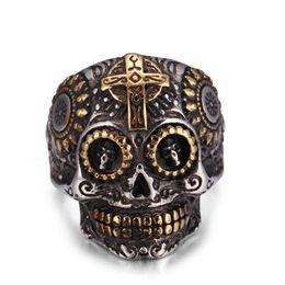 Wholesale Skull Color Ring - Halloween Mens Rings Titanium 316L Polished Stainless Steel Ring Skull Biker Men Ring 6 Color US 7-14 Stainless Steel Rings