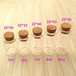Wholesale Mini Bottles Corks - Wholesale- mini glass bottle with cork stopper, 3ml, 5ml, 7ml, 8ml, 10ml, 15ml, 20ml glass jars, free shipping world wide