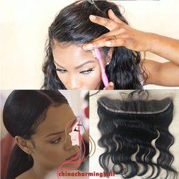 Wholesale Virgin Lace Closure 13x2 - 13x2 Lace Frontal Closure 100% Unprocessed Human Hair body wave Bleached Knots Virgin Frontal Body Wave 13x2 Full Lace Frontal