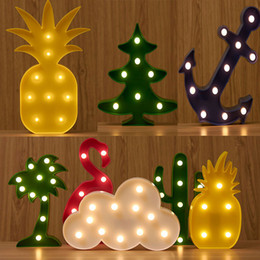 Wholesale Pineapple Decor - 3D Flamingo Pineapple Cactus Cloud Tree Led Night Light Sign Light Table Lamp for Kids Bedroom Home Decor Birthday Party Christmas Toys Gift