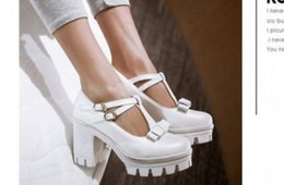 Wholesale Japanese Platforms Shoes - The spring of 2017 round head thick with Japanese single institute wind high-heeled platform shoes bottom with contracted breathable femal