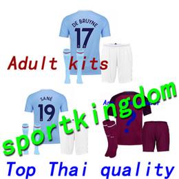 Wholesale Man City Socks - Thai quality 17 18 Man City soccer Jersey adult kit+sock 2017 2018 DZEKO KUN AGUERO KOMPANY jerseys soccer TOURE YAYA DE BRUYNE Shirts