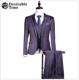 Wholesale Stage Purple Suit - 2017 Fashion Mens Purple Stage Suits Slim Fit 3 Piece Custom Made Wedding Striped Tuxedos Suit for Men DT424 AOP--007