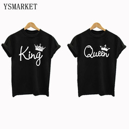 Wholesale Queen Tops - New Black Couple Shirt Short Sleeve Loose Fit Lovers Tops King and Queen Print T-shirt Plus Size S-4XL Camisa de la pareja H2850