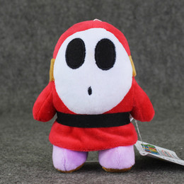 Wholesale Cups Video - 14cm Super Mario Shy Guy Plush Toy Children Plush Stuffed Toys Doll with Suction Cup High Quality Safty free Shipping retail