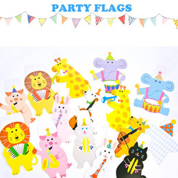 Wholesale Cartoon Cake For Kids - 2M Happy Family Baby Shower Cartoon Animal Garland Striped Paper Flags Banner Decor Birthday Party Supplies For kids
