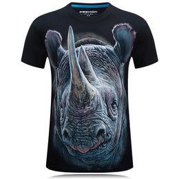 Rhino 3d online-T-shirt da uomo a maniche corte in cotone allentato con stampa digitale 3D da uomo, alta e realistica