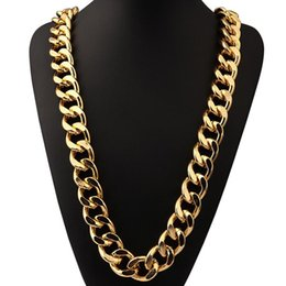 Wholesale Male Heart Necklace - Hiphop Cuban Thick Chain Necklace Gold Plated Miami Mens Stainless Steel Chains Collier Long Male Necklace Jewelry For Men Y#133