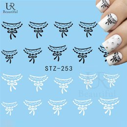 Wholesale Black Design Nails - Wholesale-1 Sheet New Lace Flower Water Nail Stickers Black White Designs Nail Art Water Transfer Nail Tips Decals Manicure Decor STZ-253