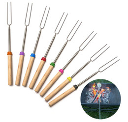 Wholesale Stainless Steel Barbecue Skewers - BBQ Forks Camping Campfire Stainless Steel Campground Lunch Tools Wooden Handle Telescoping Barbecue Roasting Fork Sticks Skewers