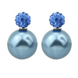 Wholesale Candy Color Stud Earrings - Brinco Perola Fashion Round Shape Double Imitation Pearl and Rhinestone Jewelry Candy Color Stud Earrings For Women
