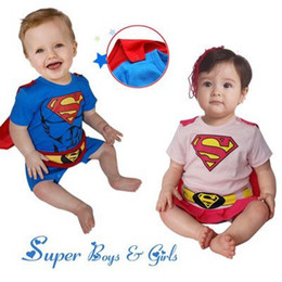 Wholesale Long Cotton Smock - Baby Boy Romper Superman Long Sleeve with Smock Halloween Christmas Costume Gift Boys Rompers Spring Autumn Clothing