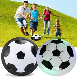 Wholesale Disc Balls - Air Power Soccer Ball LED Light Up flying toy Colorful Disc Indoor Football Multi-surface Hovering and Gliding toy OTH417
