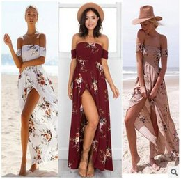 Wholesale Summer Long Chifon Dresses - Boho style long dress women Off shoulder beach Bohemian summer holiday dress new year Vintage chifon white maxi dress vestidos de festa 2017