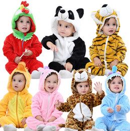 Wholesale 2t Boys Winter Clothes - Newborn baby rompers Spring Autumn Baby boy clothes Jumpsuit Baby Girl animal Rompers infant Warm pajamas todder Clothes pajamas