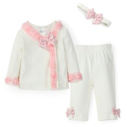 Wholesale Cute Tops For Winter - Wholesale- Princess Style Newborn Baby Girl Clothes 3 PC Set Cute Flowers Bow Top,Pant & Headband White Infant Cirls Suit for Spring