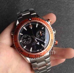 Wholesale High Ocean - Mens High Quality Planet Ocean 45mm Chronograph Stainless Steel Orange Bezel Black Dial Stainless 9300 Automatic Mechanical Wristwatch