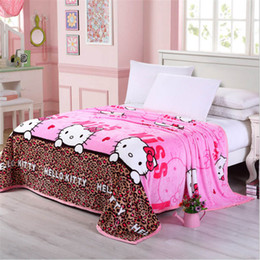 Wholesale Europe Retail - wholesale retail New style flannel Blanket cartoon sheets quilt comfortable Blanket Coral Fleece Fabric gift Home textile