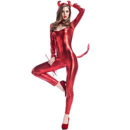 Wholesale Halloween Dress Devil - Sexy Cat Girl Cosplay Fashion Stage Performance Clothing Party Unifrom Red Devil Dress Up Cute Cute Cat