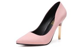 Taille de fille talon haut blanc en Ligne-Chaussures à talons hauts pour femmes Chaussures blanches Femmes Bout pointu en cuir Fille talons hauts 8.5CM Pointure européenne: 35-39