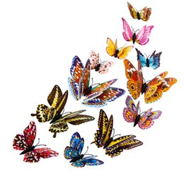 Wholesale Glow Sticks Butterflies - Wholesale- 12pcs Luminous glow in dark Butterfly Design Decal Magnetic magnet sticking 3D double feather butterfly fridge stickes drop ship