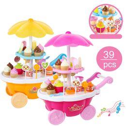casa de bonecas vintage atacado Desconto Novas crianças brinquedos simulação mini candy ice cream trolly loja fingir jogo conjunto 39 pcs brinquedo de comida brinquedo cocina juguete sorvete brinquedo para crianças