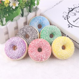 Wholesale Decoration Shop - 2 7sh Simulation Squishy Colorful Shredded Coconut Donuts Pendant Squishies Slow Rising Desserts Toys Food Model For Dessert Shop Decoration