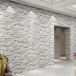 Wholesale Cover Entertainment - Wholesale- 3D Embossed Vinyl Wallpaper Mural Papel De Parede Modern Stone Brick Waterproof PVC Wall Covering Paper Living Room Home Decor