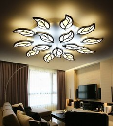Wholesale Acrylic Ceiling Lamp Chandelier - Modern Metal Leaf Led Ceiling Chandeliers Lamp Lustre Acrylic Bedroom Dimmable Led Chandelier Lighting Foyer Luminaria Fixtures LLFA