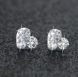 Wholesale Cheap Piercings - Trendy Bridal Jewelry Pearl Blue Diamond circular new clover anti allergy star moon Silver Diamond pierced earrings cheap shipping type
