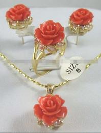 Brincos de flores cor de rosa on-line-12m cor-de-rosa coral esculpida flor brincos anel colar pingente conjunto