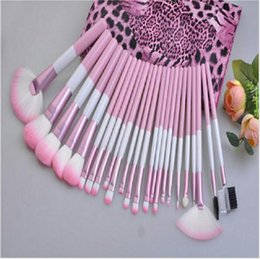 Wholesale pro makeup bags - 24Pcs Brand Makeup Brushes Set High Quality Pro Blush Foundation Powder Brush Kit Cosmetic Beauty Tools With Leopard PU Leather Bag Case