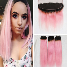 Wholesale Pink Hair Weft - Ear To Ear 13x4 Lace Frontal With 3 Bundles T1B Pink Dark Root Ombre Virgin Human Hair Silky Straight With Lace Frontal Closure