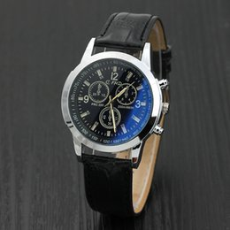 Wholesale Mens Roman Watches - Mens Roman Numerals Blue Ray Glass Watches Men Luxury Leather Analog Quartz Business Wrist Watch Men's Clock