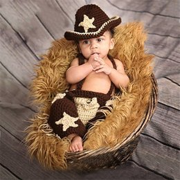 Wholesale Crochet Newborn Cowboy Hat - Baby Photography Props Handmade Crochet Cartoon Cowboy Sets Newborn Photo prop Accessories Infant Toddler Photography Outfits