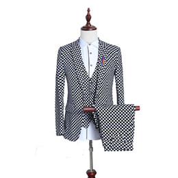 Wholesale White Dress Suits For Weddings - Wholesale- (3 Pieces set) British Men Suit Black White Small Plaid Slim Fit Male Tuxedo Wear Mens Dress Suits Formal Wedding Suits For Men