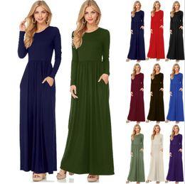 Wholesale Solid Color Maxi Dresses - Women Maxi Casual Dress Solid Color Long Sleeve Dresses Round Collar Long Sexy Elegant Dress 10 Colors OOA3823