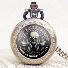 Wholesale Wholesale Unisex Watches America - Wholesale-Old Vintage 2ND AMENDMENT Theme America Flag With Skull & Gun Design Case Pocket Watch With Chain Necklace