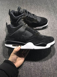 Wholesale Transparent Rubber Shoes - New Arrival Air retro 4 Black Suede basketball Shoes retro 4 Sneakers Banned Crystal transparent sole Sneaker size 7-13