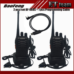 Wholesale Portable Walkie Talkie Uhf Vhf - Wholesale- 2 PCS set Walkie Talkie Two-way Radio Baofeng 888s BF-888S Portable radio Tranceiver with VHF UHF 5W 16CH + 1 prgramming cable