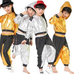 Wholesale Kids Spandex Pants - Kids Hip Hop dancewear costumes Girls Boys Modern Jazz dancing Outfits Ballroom Party Sequined dance Hoodie +Pants