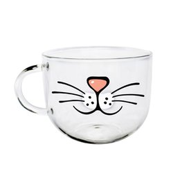 cup paintings Coupons - Wholesale- 2016 New 450 ML Glass Cup Handle With Cartoon Creative Hand-painted Handy Cup Milk Breakfast Cup Free Shipping
