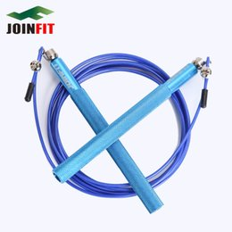 Wholesale Pedal Steel - Joinfit Crossfit Speed Jump Rope Ball Bearing Aluminum Handle Stainless Steel Cable Adjustable Sport Rope Skipping +Spare Rope
