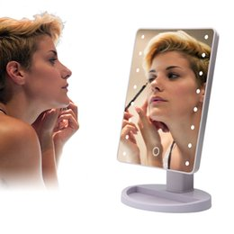Wholesale gold compact mirror - led mirror Make Up Mirror 360 Degree Rotation Touch Screen Cosmetic Folding Portable Compact Pocket 16 22 LED Lights Makeup Tool DHL