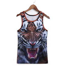 Wholesale Tattoo Vest Top - Wholesale- Men Vest Men New Sleeveless Shirt Fashion Workout O Neck Leopard Tank Top Walk Bodybuilding 3D Tattoo Animal Fitness Vest Tiger