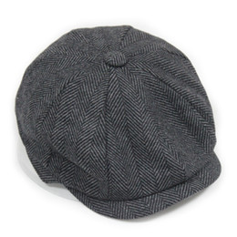 Wholesale newsboy caps for men - Wholesale-Fashion Octagonal Cap Newsboy Beret Hat Autumn And Winter Hats For Men's International Superstar Jason Statham Male Models